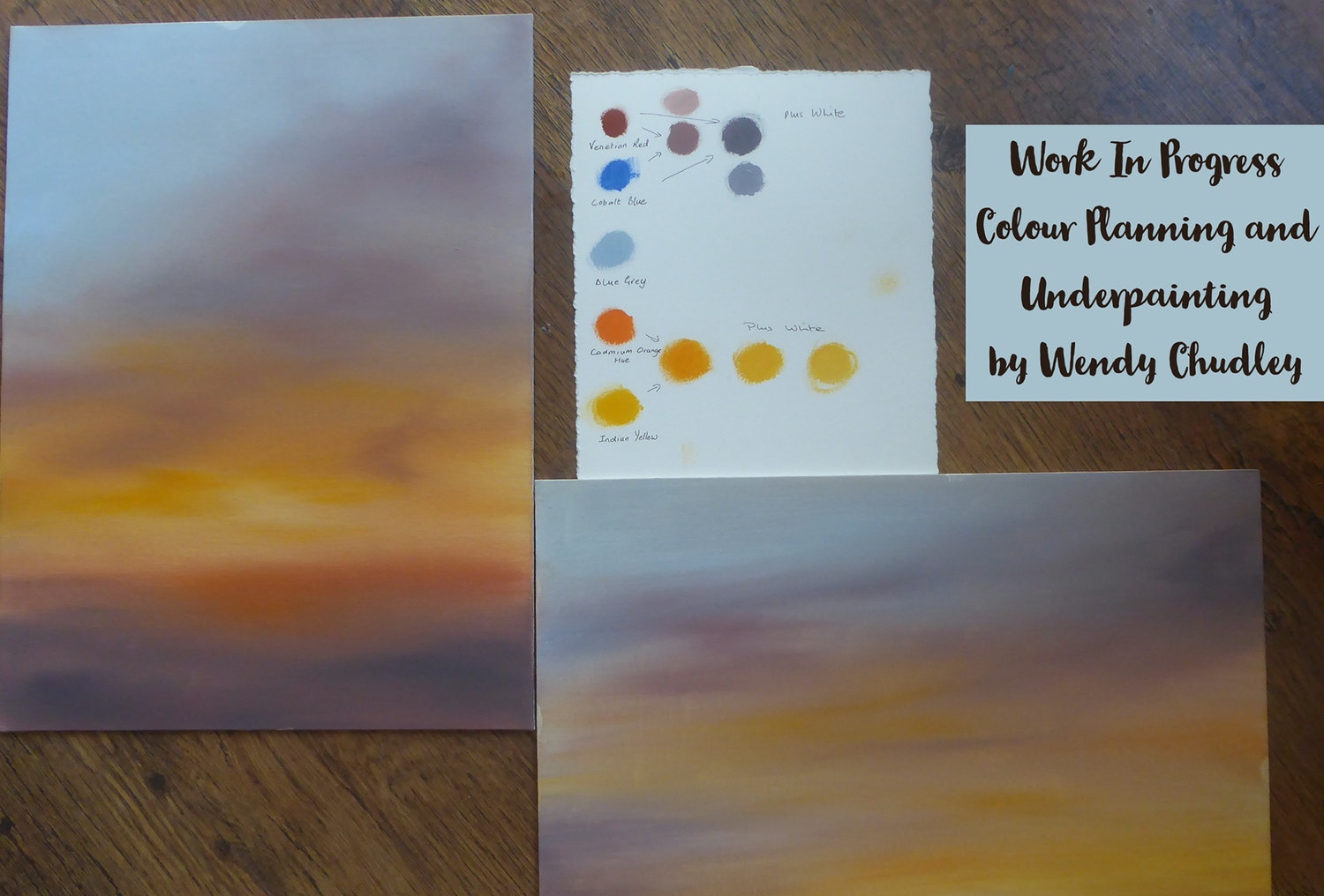 Wendy Chudley preparation for pastel painting Sunset