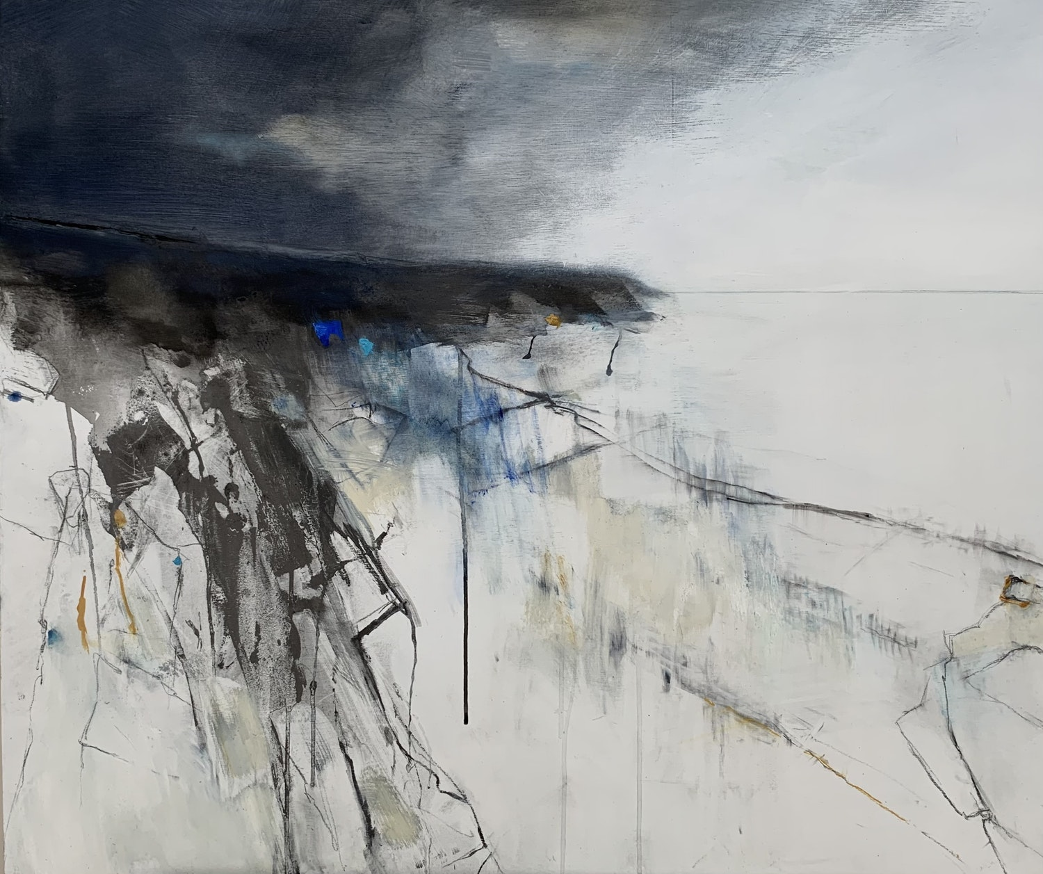 Cliffs from Prussia Cove 2021 Graphite and oil on board 85 x 100cm