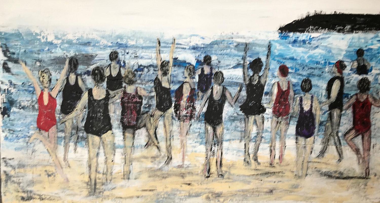 Teresa Barlow All in Together acrylic on board 60 x 30cm