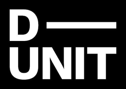 D Unit logo white stacked