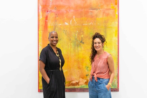 383 Frank Bowling Land of Many Waters Preview Day 2 July 2021 Gallery 3 Gaylene Gould and Raquel Meseguer by Lisa Whiting Photography copyright Arnolfini